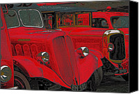 Old Trucks Canvas Prints - Vintage Fire Truck Techno Art Canvas Print by Tony Grider