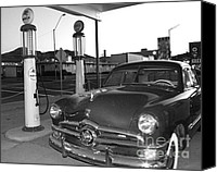 Classic Gas Pumps Canvas Prints - Vintage Ford Canvas Print by Rebecca Margraf