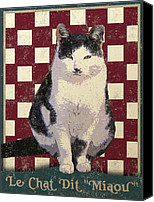 Chat Digital Art Canvas Prints - Vintage French Bistro Cat Canvas Print by Vintage Poster Designs