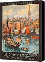 1930 Digital Art Canvas Prints - Vintage French Travel Poster 3 Canvas Print by George Pedro