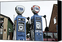 21st Century Canvas Prints - Vintage Fuel Pumps Canvas Print by Martin Bond