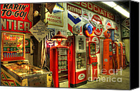 Classic Gas Pumps Canvas Prints - Vintage Gasoline Pumps 1 Canvas Print by Bob Christopher