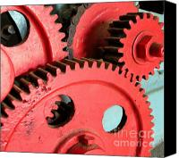 Old Wheel Canvas Prints - Vintage Gears Canvas Print by Yali Shi