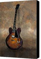 Gibson Guitar Canvas Prints - Vintage Gibson 335 Electric Guitar Canvas Print by Bradford Adams