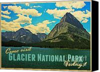 Montana Digital Art Canvas Prints - Vintage Glacier National Park Canvas Print by Vintage Poster Designs