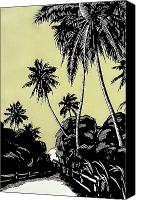 Hawaiian Vintage Art Canvas Prints - Vintage Hawaii Palms Canvas Print by Hawaiian Legacy Archive - Printscapes