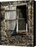 Barn Mixed Media Canvas Prints - Vintage Hay Barn Door Canvas Print by H G Mielke
