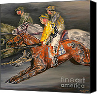 Pdjf Canvas Prints - Vintage Horse Racing Toys Canvas Print by Thomas Allen Pauly