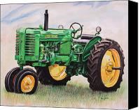 Farm Tapestries Textiles Canvas Prints - Vintage John Deere Tractor Canvas Print by Toni Grote