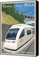 Mitch Frey Canvas Prints - Vintage Max Light Rail Travel Poster Canvas Print by Mitch Frey