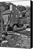 Clinton Photo Canvas Prints - Vintage Mill in Black and White Canvas Print by Paul Ward