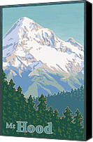 Mitch Frey Canvas Prints - Vintage Mount Hood Travel Poster Canvas Print by Mitch Frey