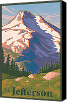 Wilderness Digital Art Canvas Prints - Vintage Mount Jefferson Travel Poster Canvas Print by Mitch Frey