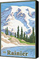 Mitch Frey Canvas Prints - Vintage Mount Rainier Travel Poster Canvas Print by Mitch Frey