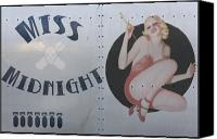 Pin Canvas Prints - Vintage Nose Art Miss Midnight Canvas Print by Cinema Photography