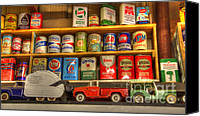 Classic Gas Pumps Canvas Prints - Vintage Oil Cans And Toys Canvas Print by Bob Christopher