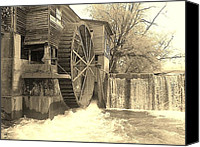Old Mill Pigeon Forge Canvas Prints - Vintage Old Mill Canvas Print by Kathy Schutt