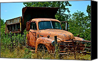 Old Trucks Canvas Prints - Vintage Old Time Truck Canvas Print by Peggy  Franz