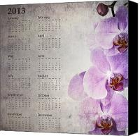 Parchment Canvas Prints - Vintage orchid calendar 2013 Canvas Print by Jane Rix