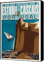 1930 Digital Art Canvas Prints - Vintage Portugal Travel Poster Canvas Print by George Pedro