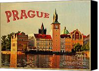 Prague Digital Art Canvas Prints - Vintage Prague Canvas Print by Vintage Poster Designs
