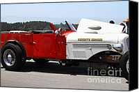 Old Trucks Canvas Prints - Vintage Reserve Fire Engine . 7D15327 Canvas Print by Wingsdomain Art and Photography