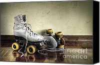Skating Canvas Prints - Vintage roller skates  Canvas Print by Carlos Caetano
