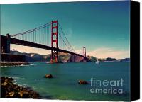 Golden Gate Canvas Prints - Vintage San Francisco Canvas Print by Niels Nielsen