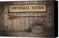 Shopping Canvas Prints - Vintage sign General Store Canvas Print by Jane Rix