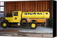 Old Trucks Photo Canvas Prints - Vintage Signal Gasoline Truck . 7D12935 Canvas Print by Wingsdomain Art and Photography