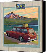 Vacation Digital Art Canvas Prints - Vintage Squareback at Trillium Lake Canvas Print by Mitch Frey
