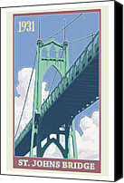 Park Digital Art Canvas Prints - Vintage St. Johns Bridge Travel Poster Canvas Print by Mitch Frey