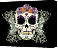 Tribal Canvas Prints - Vintage Sugar Skull and Roses No. 2 Canvas Print by Tammy Wetzel