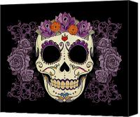 Purple Floral Canvas Prints - Vintage Sugar Skull and Roses Canvas Print by Tammy Wetzel