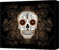 Flowers Canvas Prints - Vintage Sugar Skull Canvas Print by Tammy Wetzel