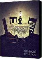 Oil Lamp Canvas Prints - Vintage Table and Chairs by Oil Lamp Light Canvas Print by Jill Battaglia