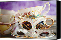 Tea Party Photo Canvas Prints - Vintage Teacups Canvas Print by Kim Fearheiley