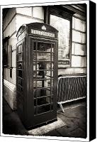 Vintage Telephone Canvas Prints - Vintage Telephone Booth Canvas Print by John Rizzuto