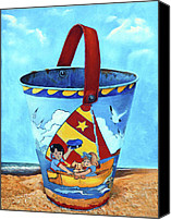 Blue Canvas Prints - Vintage Tin Sand Bucket Canvas Print by Enzie Shahmiri