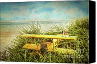 Miniature Canvas Prints - Vintage toy plane in tall grass at the beach Canvas Print by Sandra Cunningham
