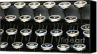 Typewriter Canvas Prints - Vintage Typewriter Canvas Print by AdSpice Studios