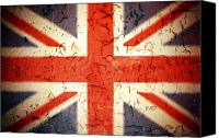 Peeling Canvas Prints - Vintage Union Jack Canvas Print by Jane Rix
