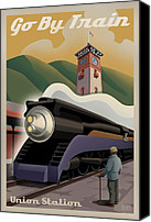 Poster Digital Art Canvas Prints - Vintage Union Station Train Poster Canvas Print by Mitch Frey
