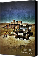 Haunted House Canvas Prints - Vintage Vehicle at Vintage Gas Pumps Canvas Print by Jill Battaglia