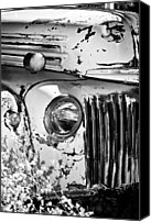 Phyllis Denton Canvas Prints - Vintage White Truck In Black And White Canvas Print by Phyllis Denton