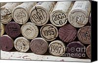 Macro Photo Canvas Prints - Vintage Wine Corks Canvas Print by Frank Tschakert