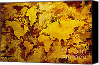 Rusty Digital Art Canvas Prints - Vintage World Map Canvas Print by Zaira Dzhaubaeva