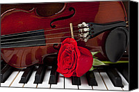 Red Rose Canvas Prints - Violin and rose on piano Canvas Print by Garry Gay