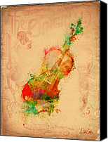 Orchestra Digital Art Canvas Prints - Violin Dreams Canvas Print by Nikki Marie Smith