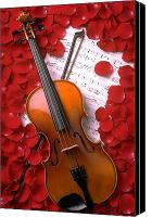 Red Rose Canvas Prints - Violin on sheet music with rose petals Canvas Print by Garry Gay